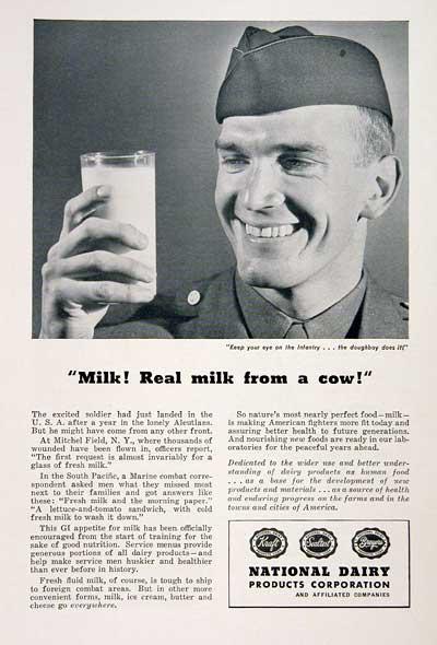 1945 - Διαφήμιση γάλακτος - Όπως αρέσει στους στρατιώτες!