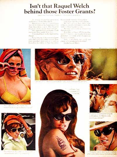 1968 - H Ράκελ Γουέλτς διαφημίζει γυαλιά ηλίου